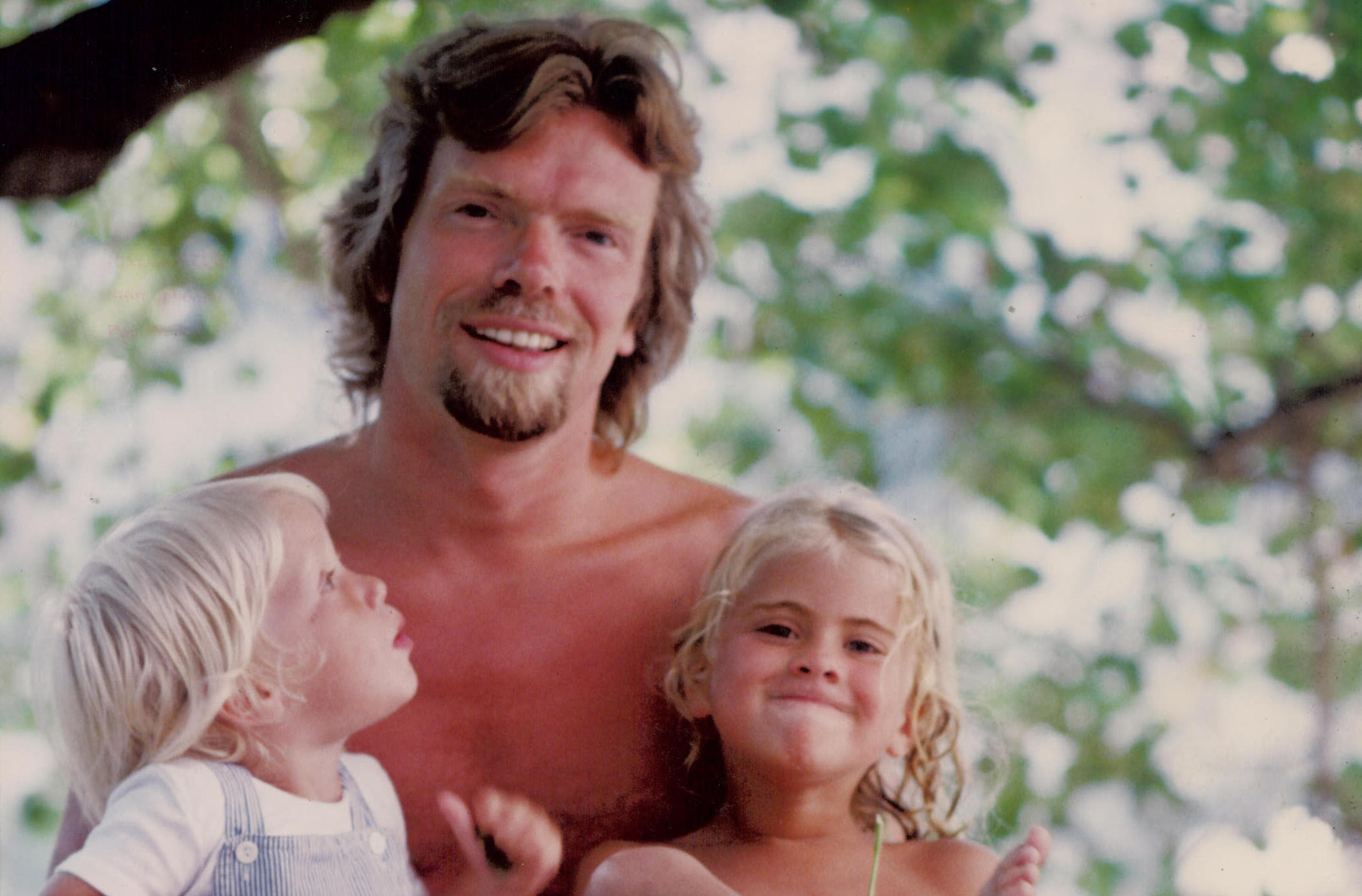 Richard Branson with a young Holly and Sam Branson