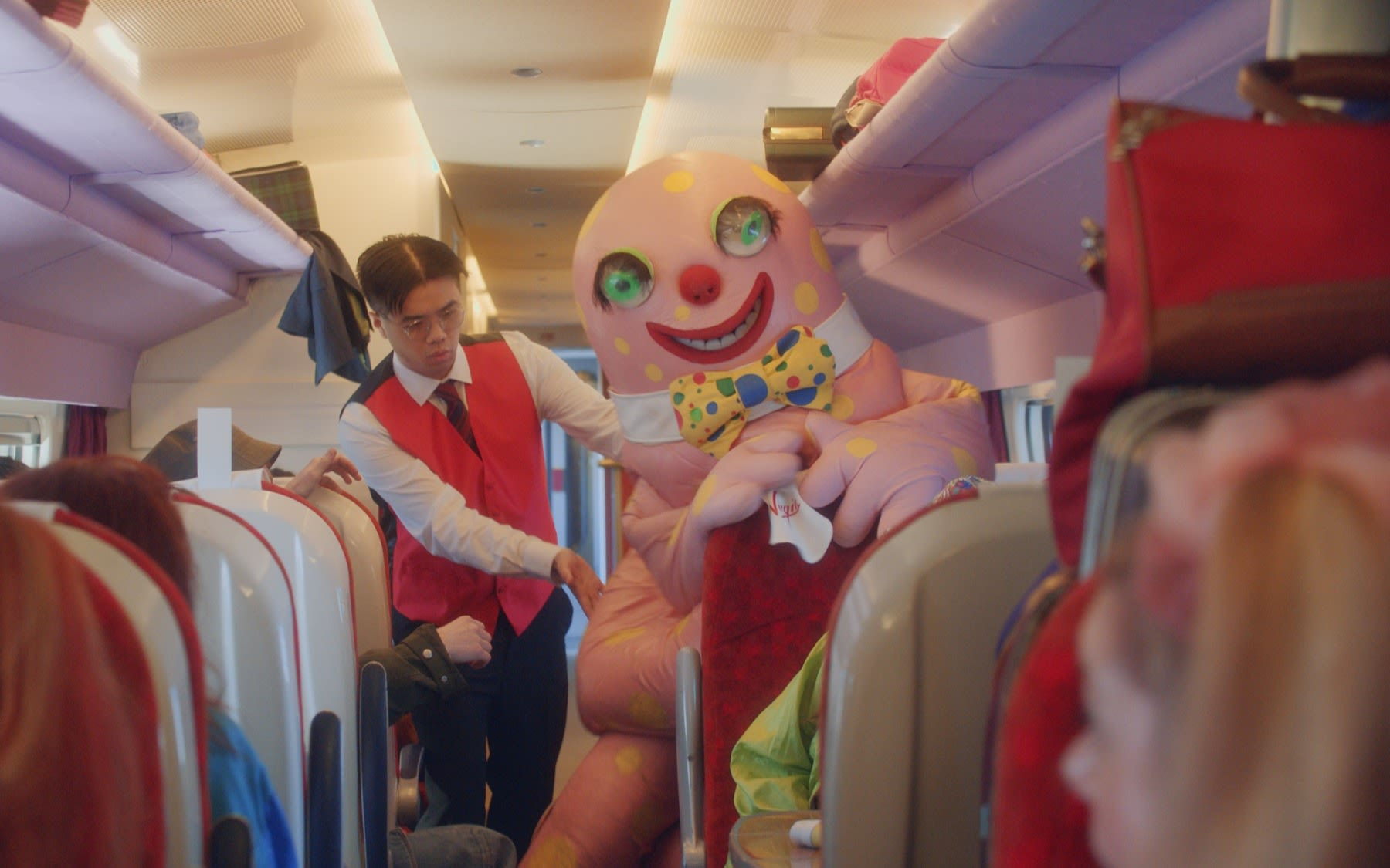 Mr Blobby onboard a Virgin Train