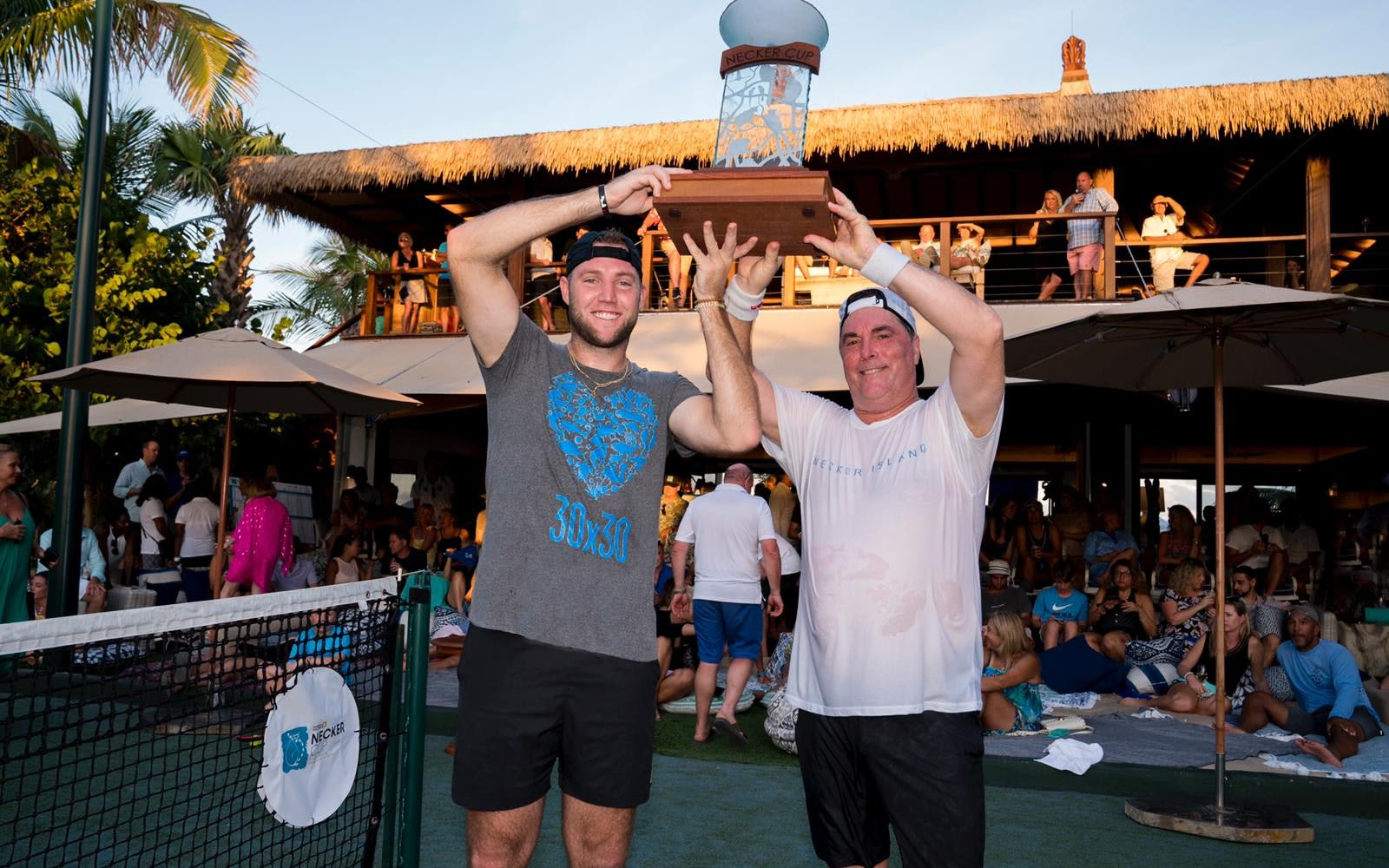 Michael Kosloske and Jack Sock celebrate winning the Necker Cup