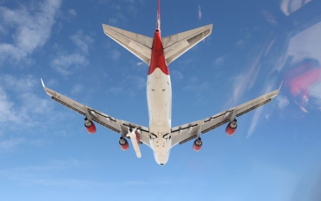 Virgin Orbit's Cosmic Girl adapted Boeing 747 rocket launcher from below