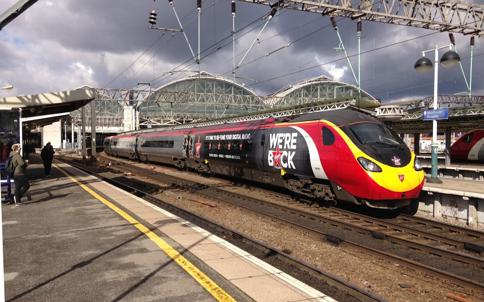A Virgin Train with We're Back on the side
