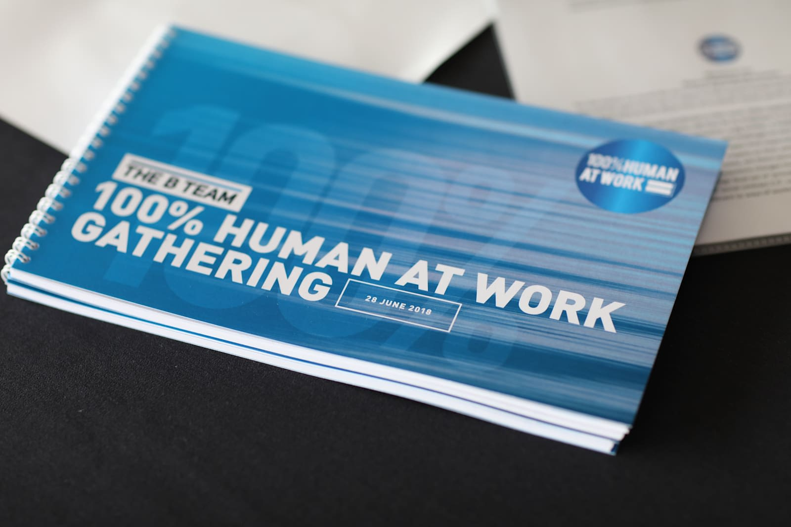 A small, blue booklet from The B Team about their 100% Human at Work initiative. In white on the front cover it says '100% Human at Work Gathering'