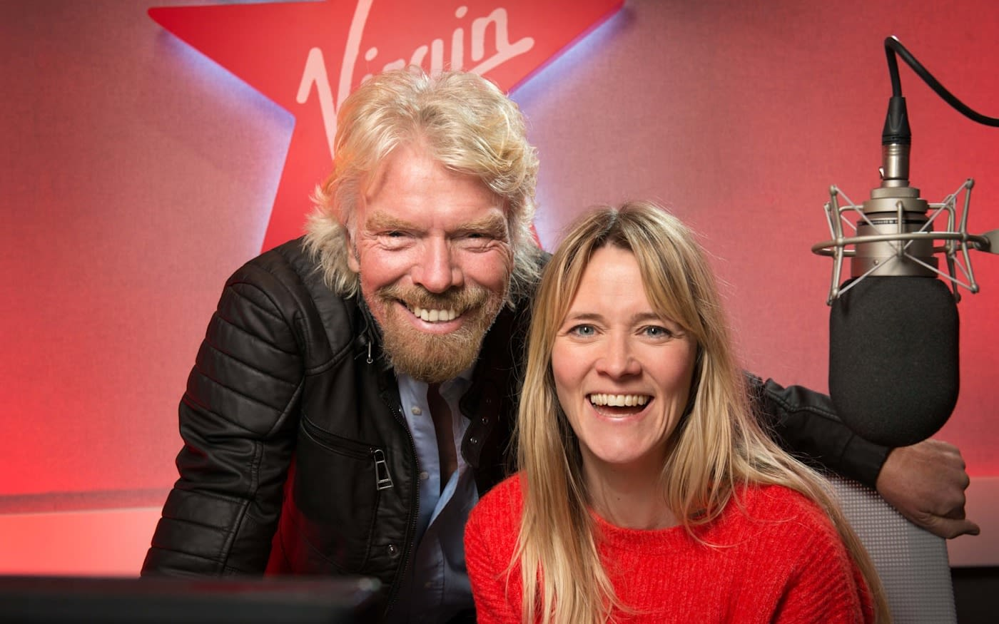 Richard Branson and Edith Bowman in a radio studio