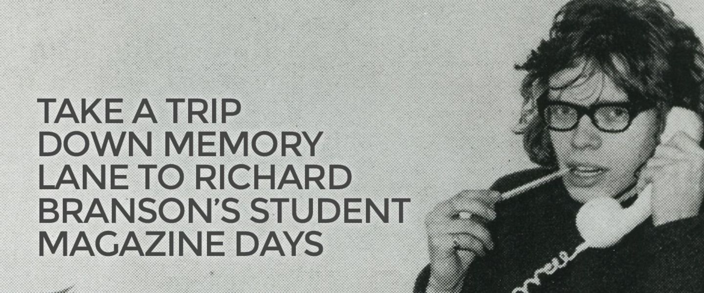 Black and white image showing a young Richard Branson on the phone, with text alongside that reads 'Take a trip down memory lane to Richard Branson's Student magazine days'