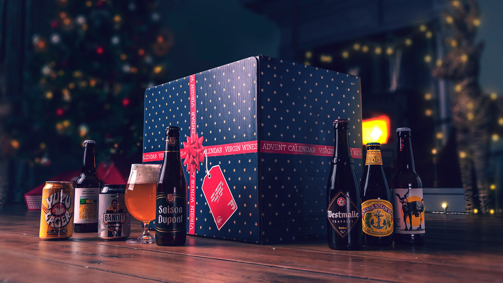 A blue Virgin Wines advent calendar with two cans of beer and five bottles of beer