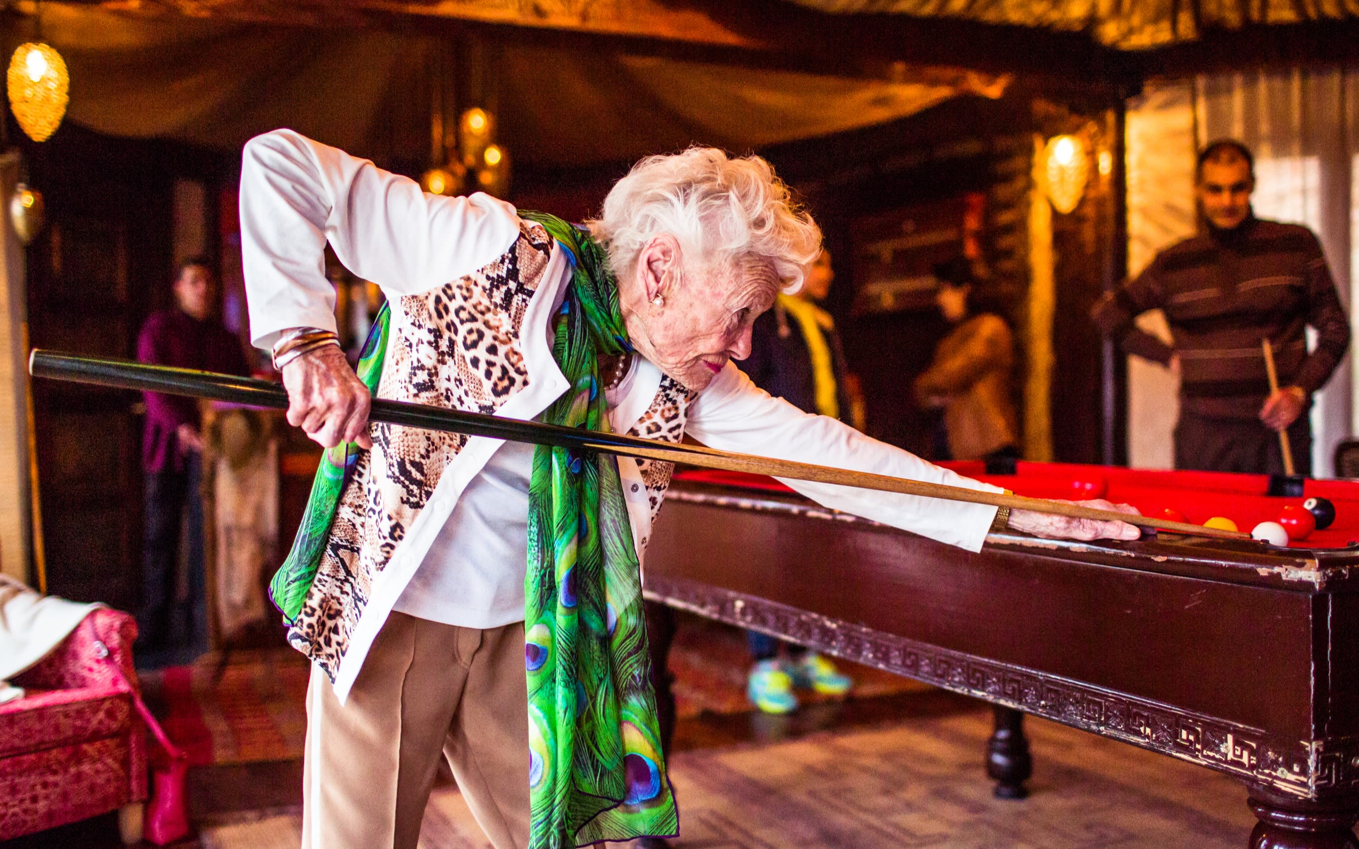 Eve Branson playing pool