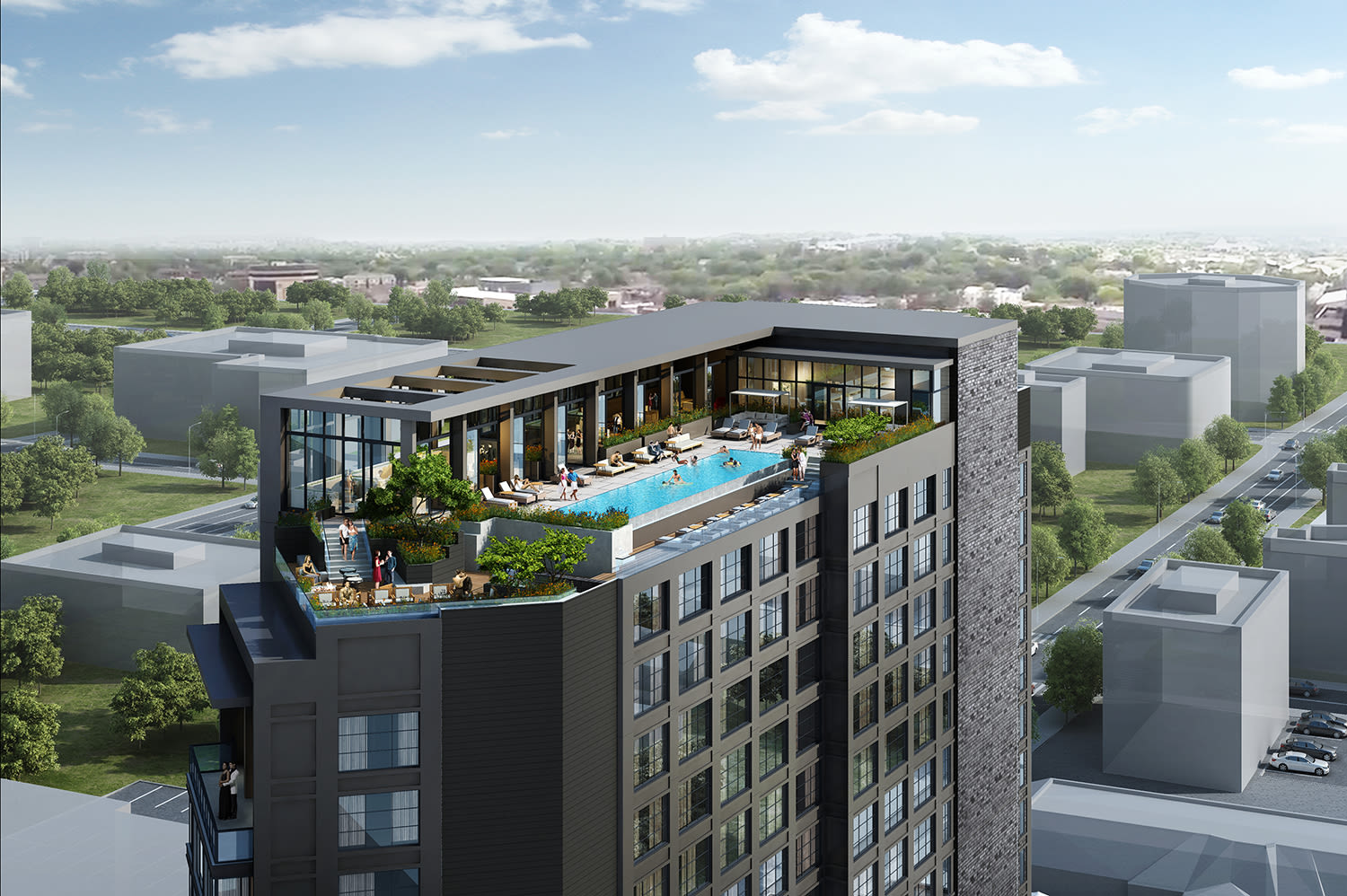Render of the rooftop pool at Virgin Hotels Nashville