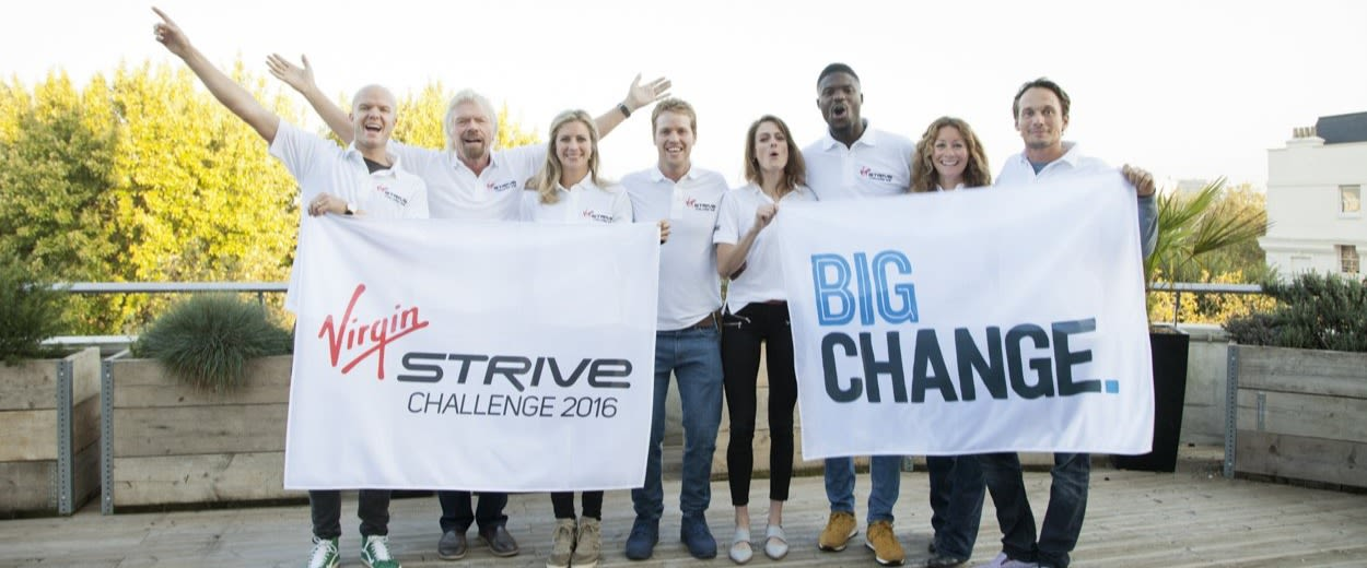 Richard Branson with the Strive Team in 2016