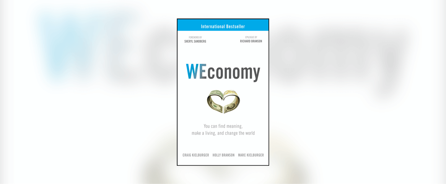 The front cover of Weconomy, which has two banknotes folded to create a heart shape on the front