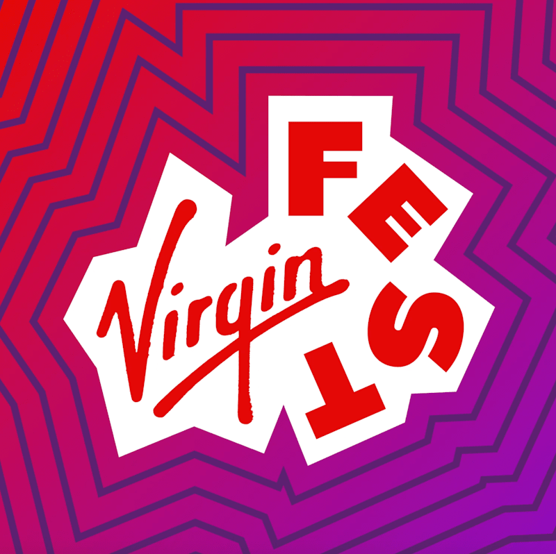 Virgin Fest.  Red text, purple background