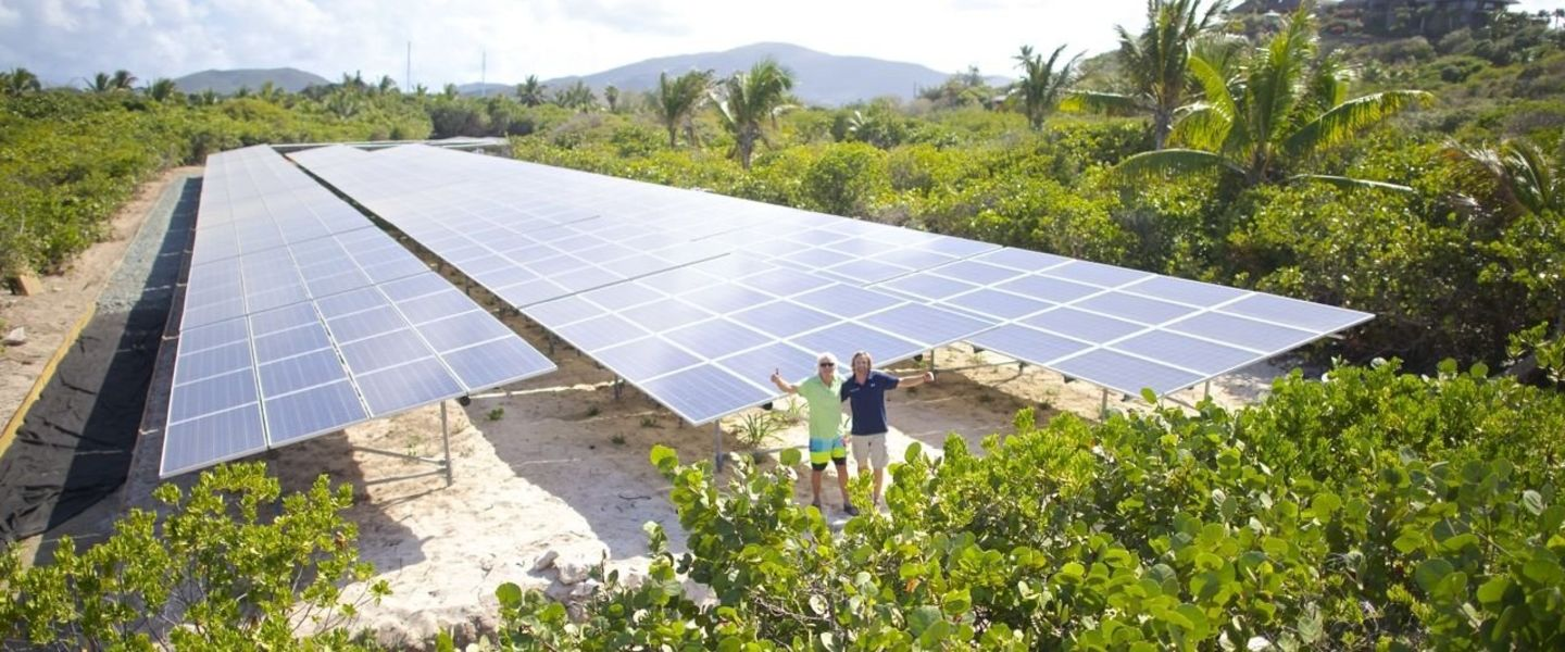 Solar panels on Necker Island