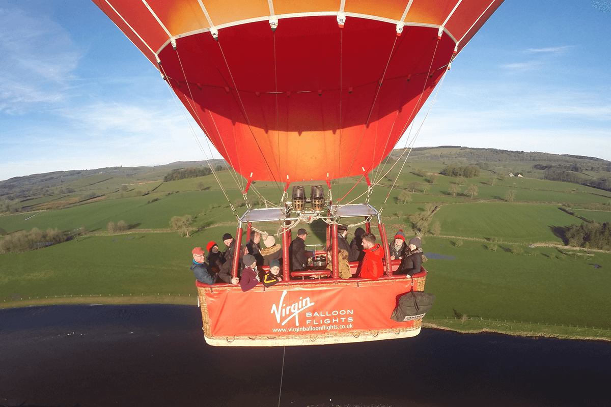 People enjoy a Virgin Balloon Flights flight