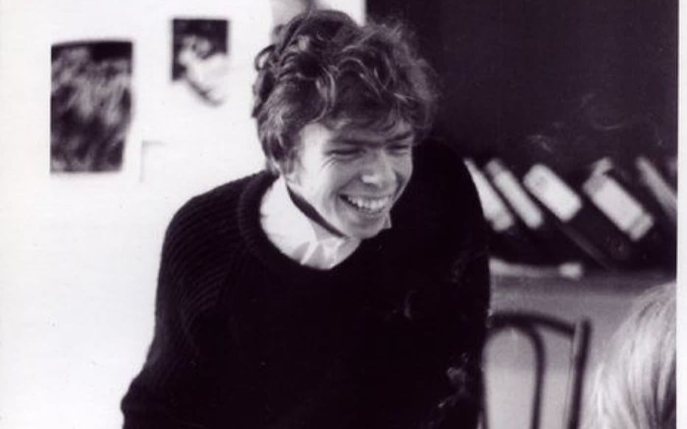 Black and white image of young Richard Branson in the student magazine office