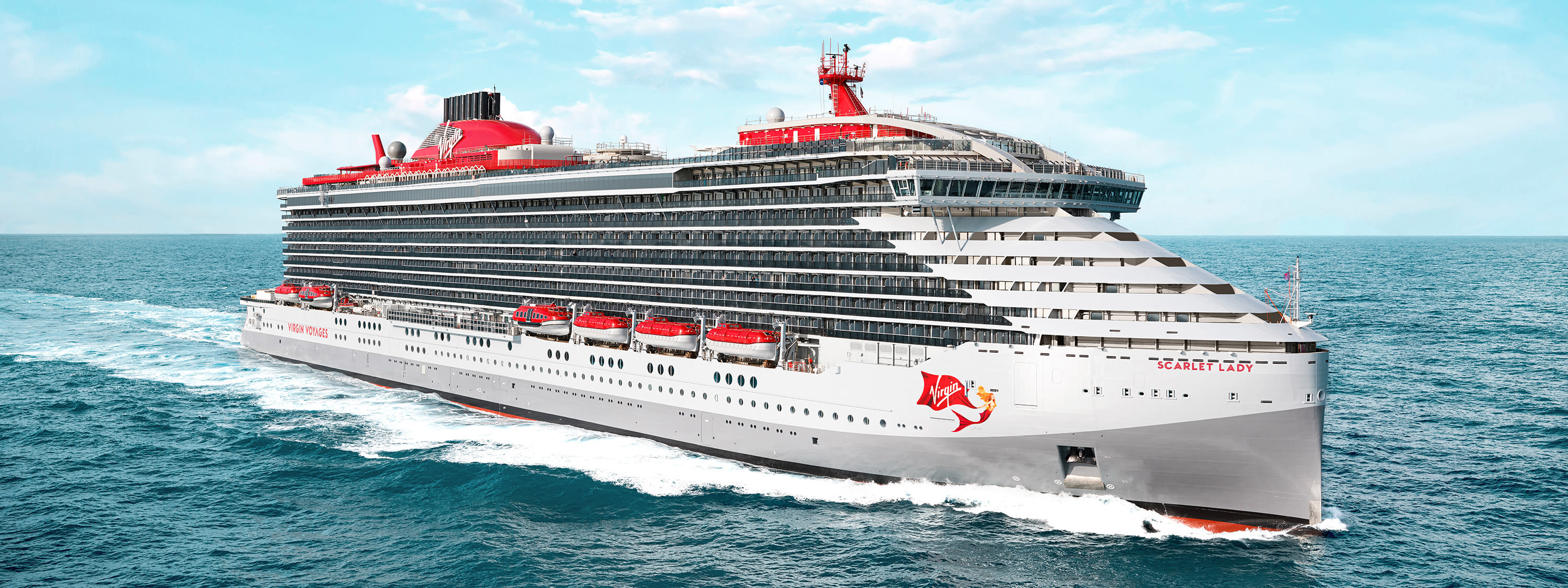 Virgin Voyages' ship Scarlet Lady at sea