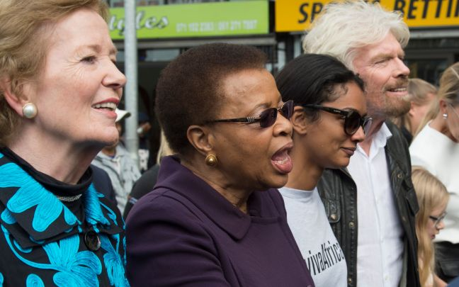 Richard Branson and Mary Robinson on a protest