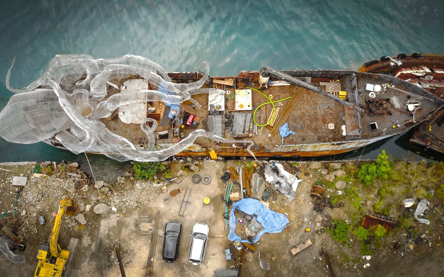 The construction of the Kodiak Queen art installation
