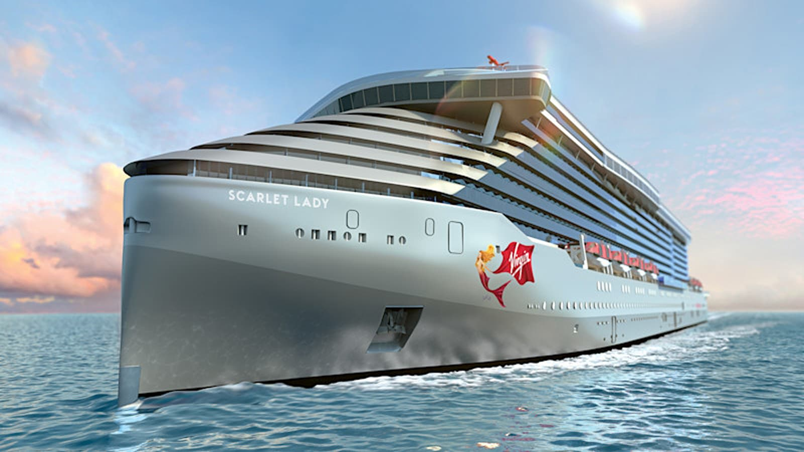 A render image of Virgin Voyages' ship Scarlet Lady