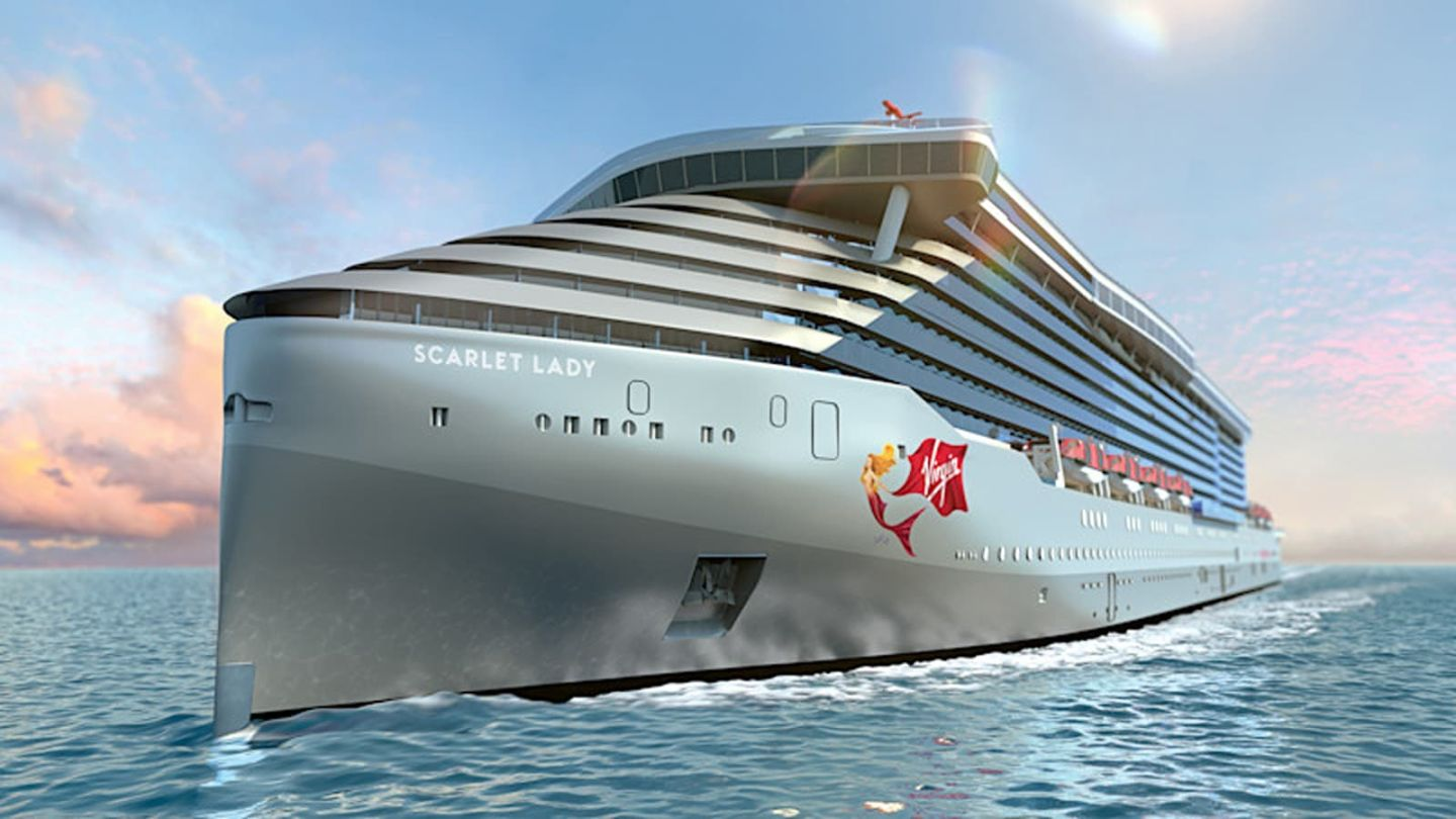 A rendered image of the Scarlett Lady cruise ship in the sea