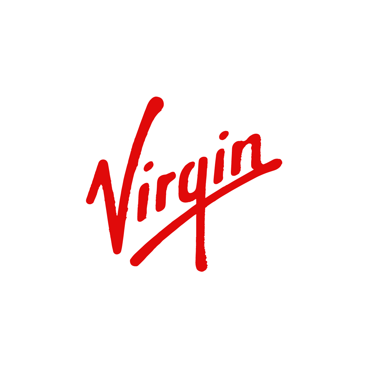 The Virgin logo in red text on a white background
