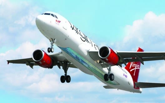 Virgin Atlantic's glass bottom plane