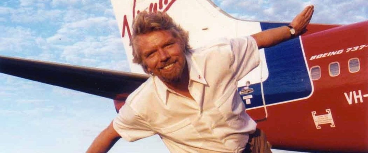 Richard Branson archive photo from the early days of Virgin Atlantic
