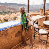 Eve Branson looking out over the Atlas Mountains of Morocco