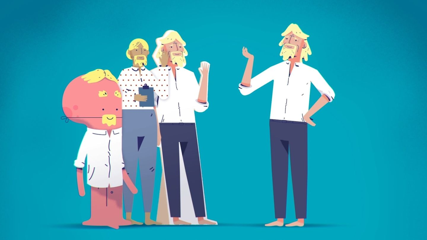 A cartoon image showing Richard Branson standing opposite three people pretending to be him by wearing fake beards and wigs