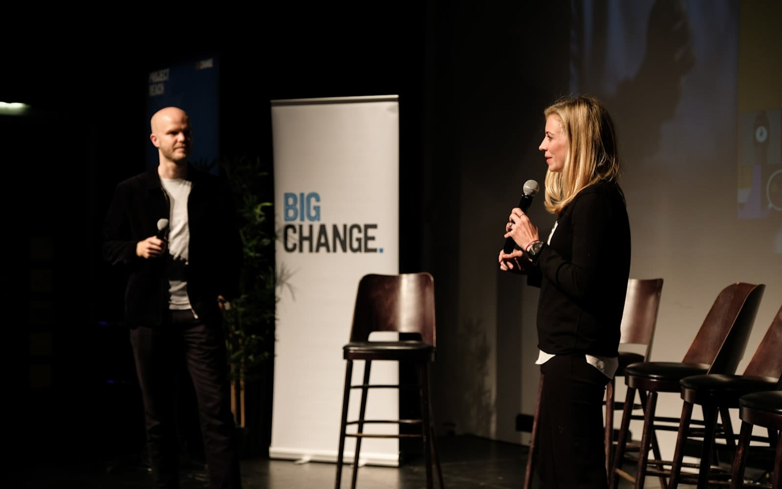 Noah Devereux and Holly Branson speaking on stage about Big Change