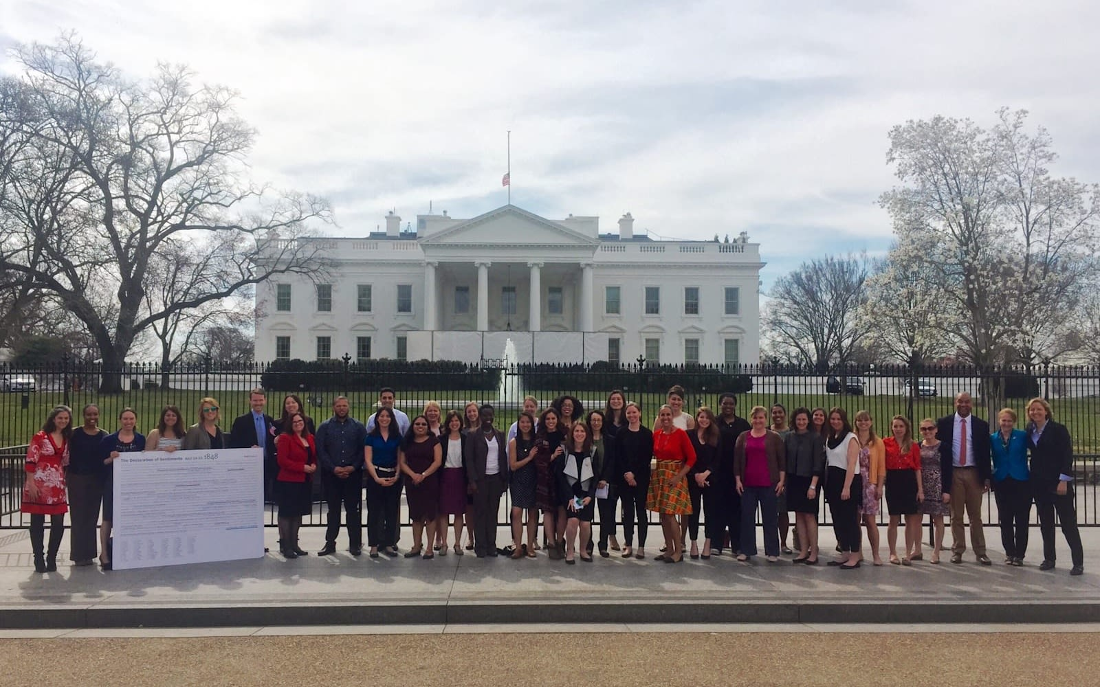 Molly Dillon and her fellow White House interns in front of the White House