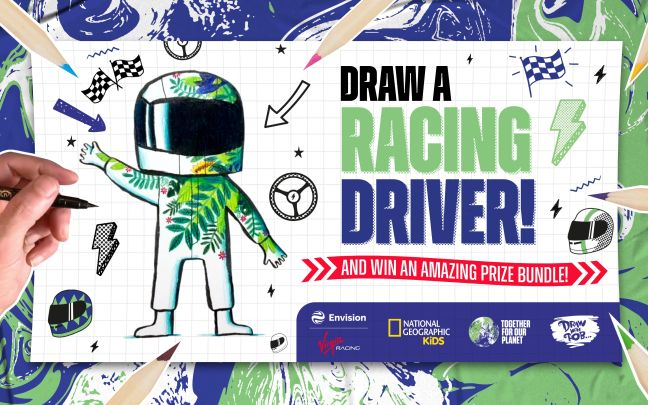 Draw a racing driver and win an amazing prize bundle competition graphic from Envision Virgin Racing