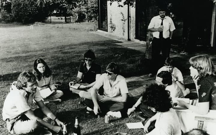 Richard Branson with the Student magazine team sitting on the grass