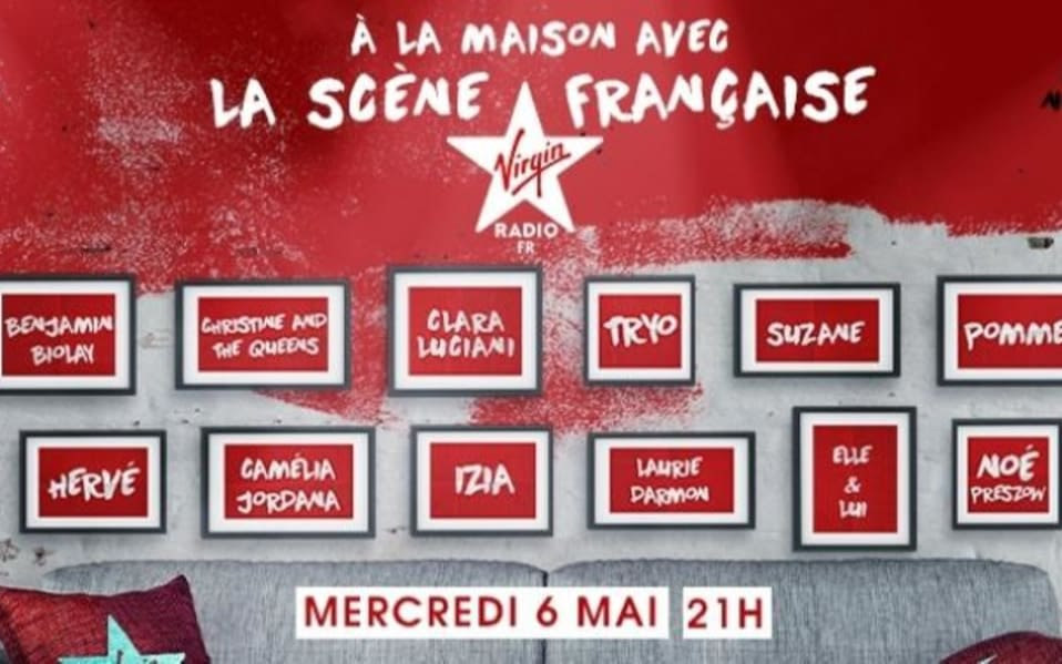 A Virgin Radio France Poster advertises a show line up