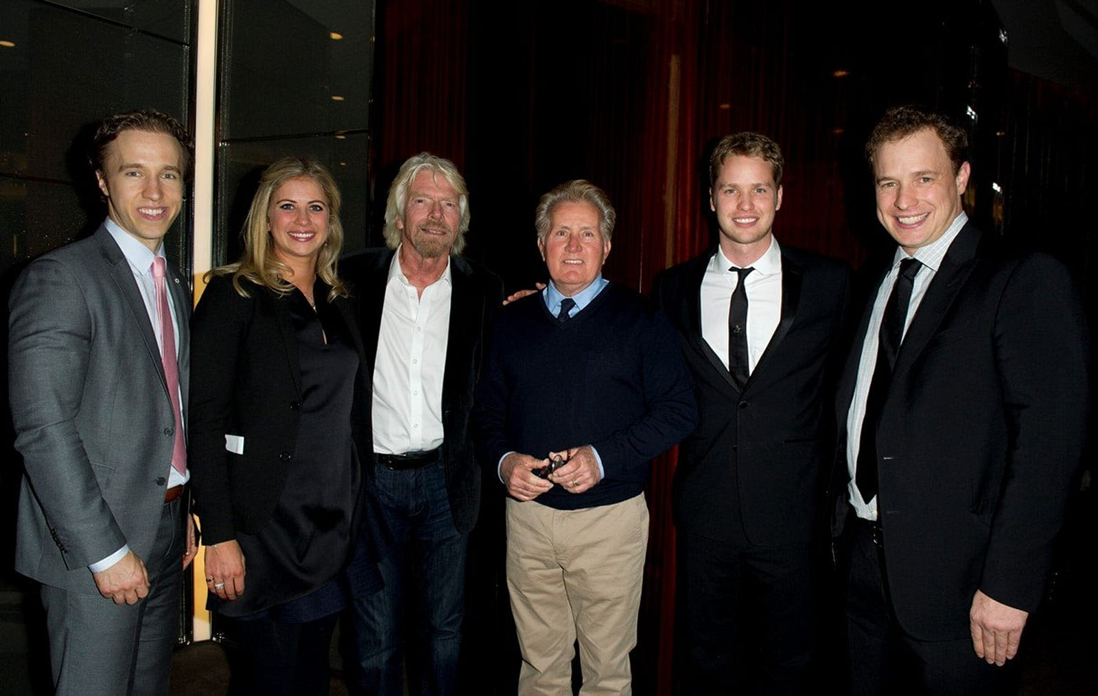 Richard Branson with Holly Branson, Sam Branson, Craig and Marc Kielburger and Martin Sheen