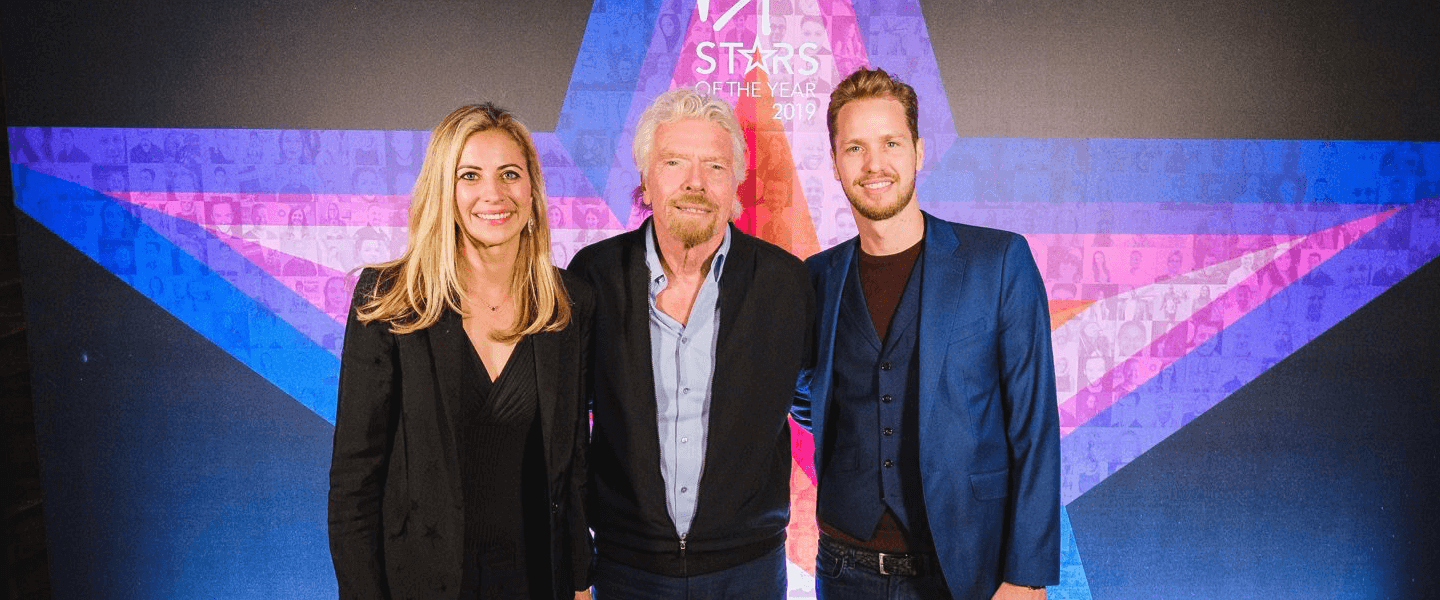 Holly Branson, Richard Branson and Sam Branson at the Virgin Stars of the Year celebration 2019
