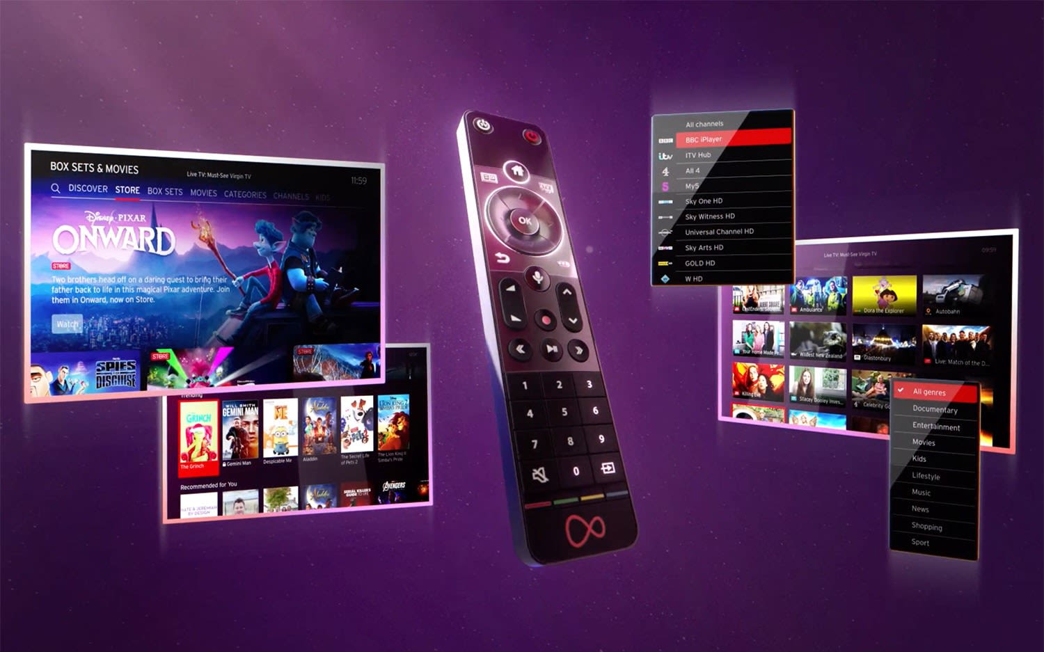 Virgin Media's new Virgin TV 360 remote and screens showing the user interface