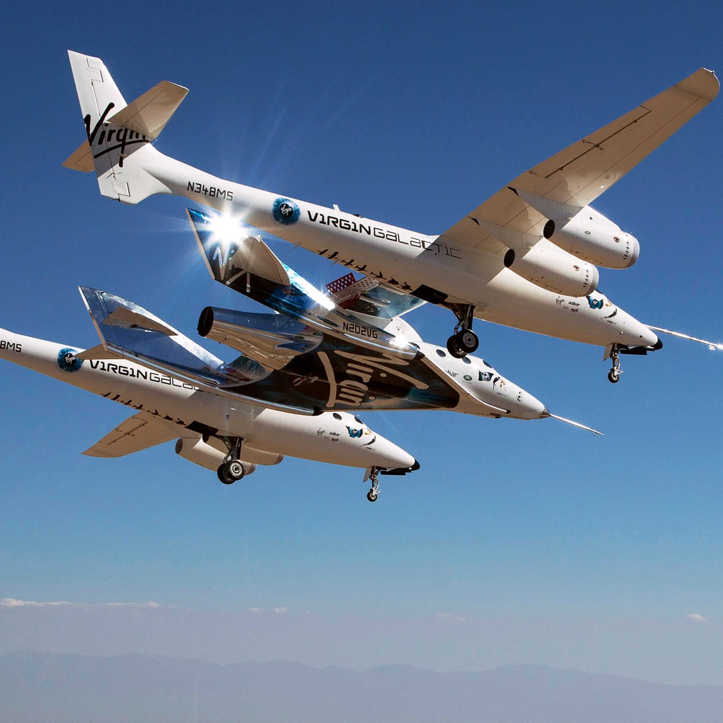 Virgin Galactic's spaceship flying in the sky