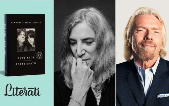 A poster of Richard Branson and Patti Smith for a Literati Ask The Author interview