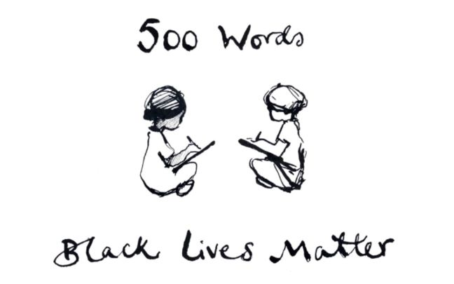 Illustration of two children writing, with the text 500 Words Black Lives Matter