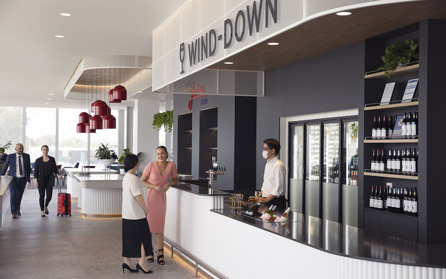 The wine bar at Virgin Australia's Adelaide Lounge