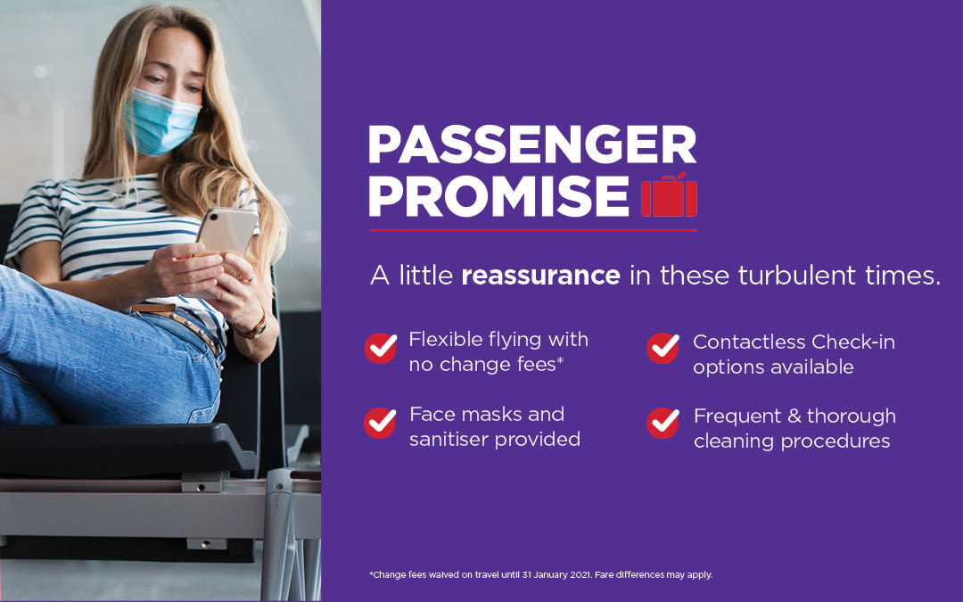 "A woman wearing a facemask at an airport. Text reads: ""Passenger Promise, A little reassurance in these turbulent times."""