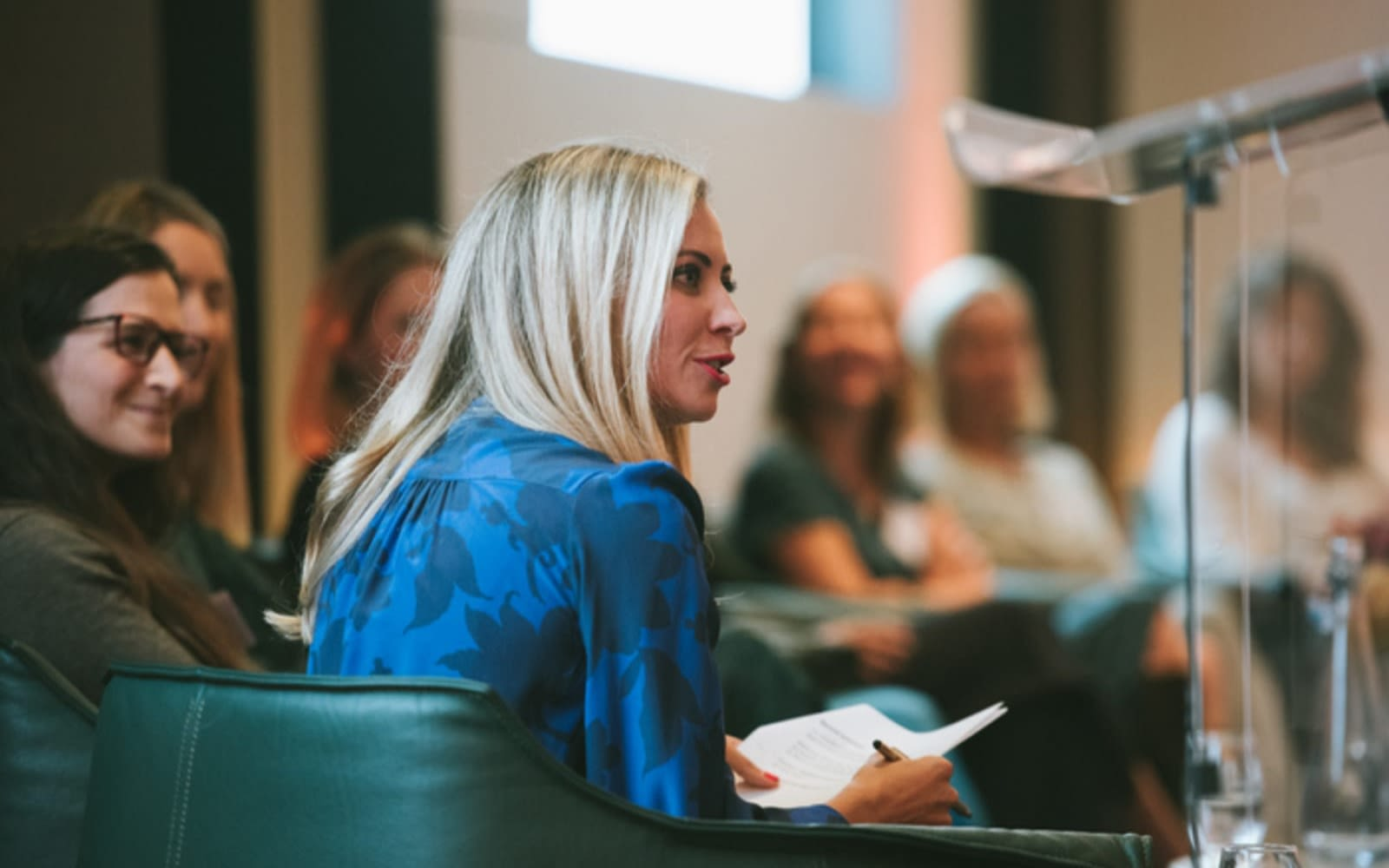 Holly Branson listens during a panel on female entrepreneurship