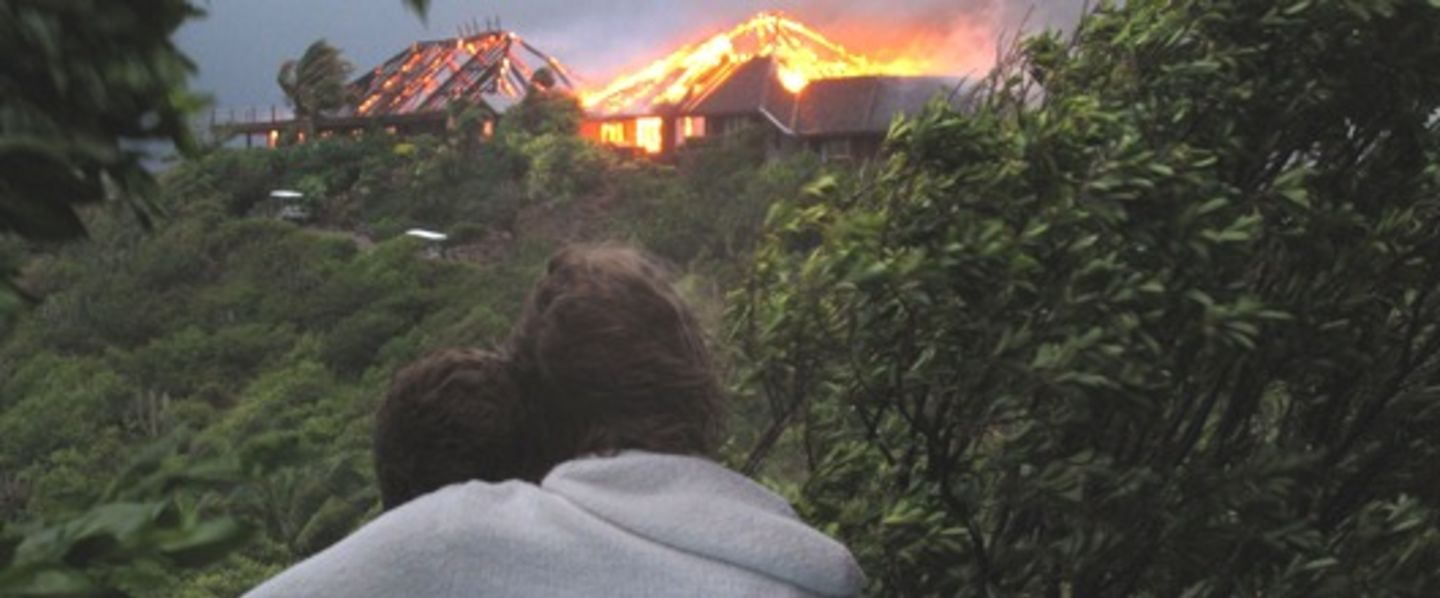 Richard looking at the fire on Necker Island