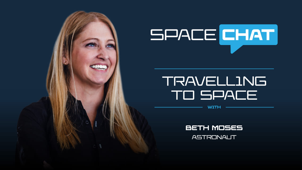 A picture of Beth Moses on the left with text on the right. Text reads: Space chat, Travelling to space with Beth Moses, astronaut