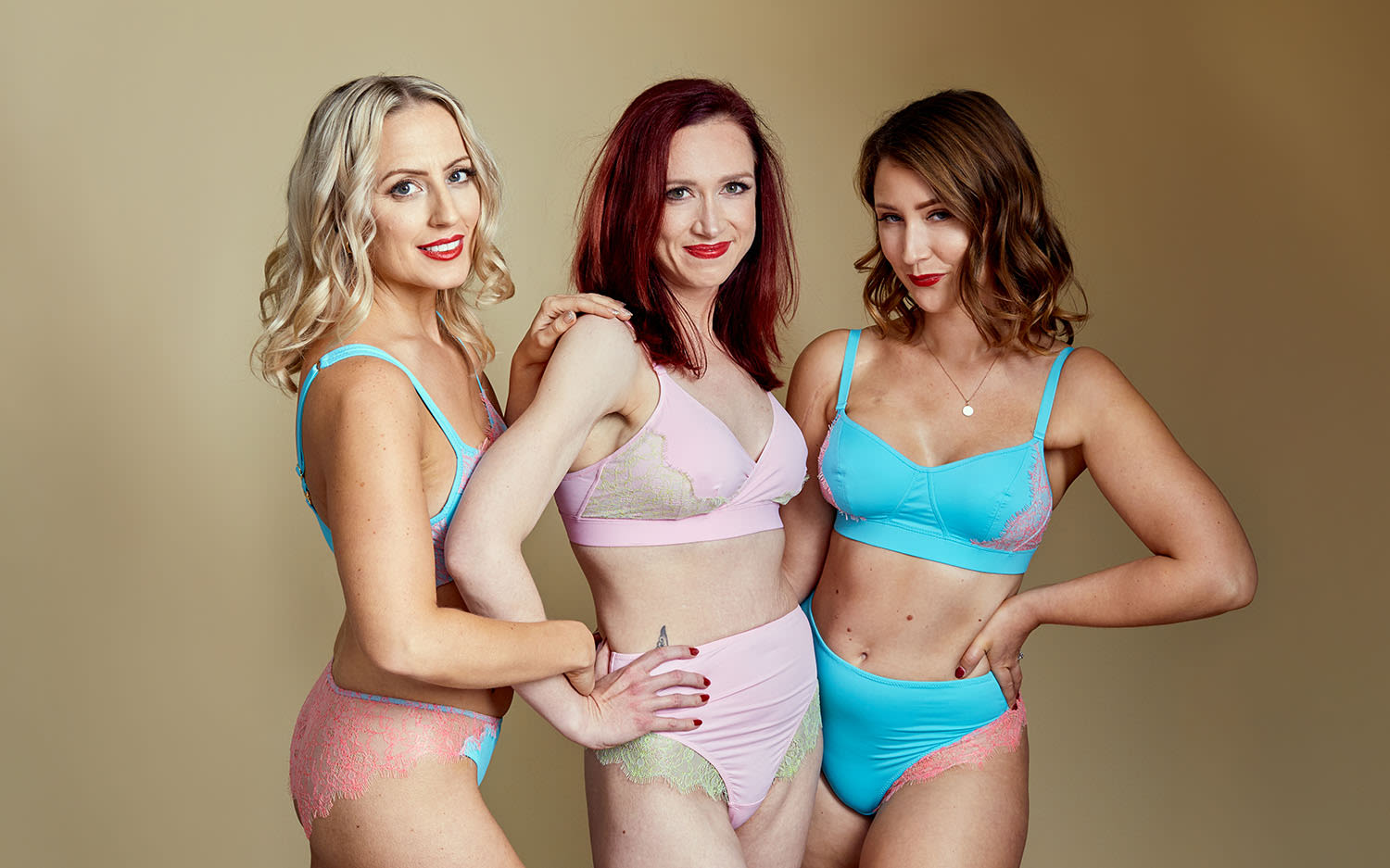 Three women posing in Valiant Lingerie
