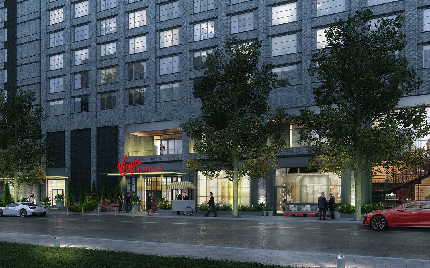Render of the entrance to Virgin Hotels Nashville