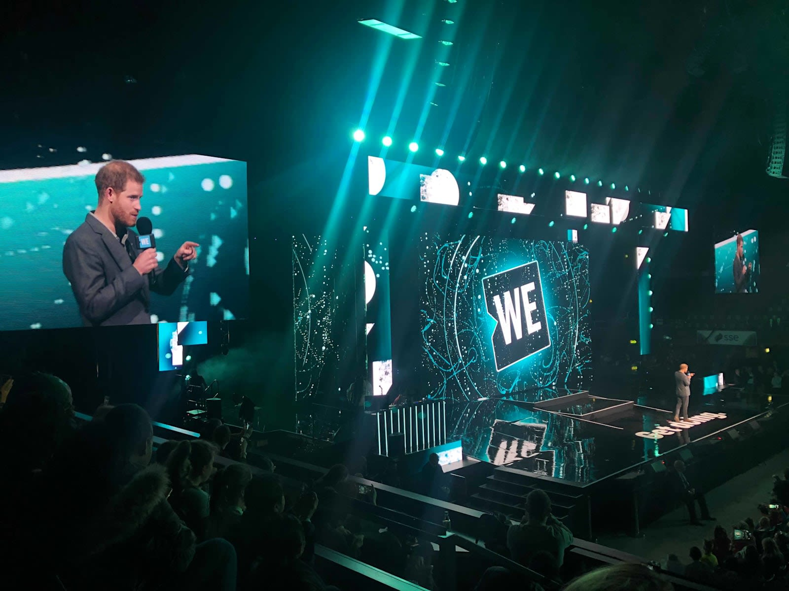 Prince Harry talking on stage at WE Day
