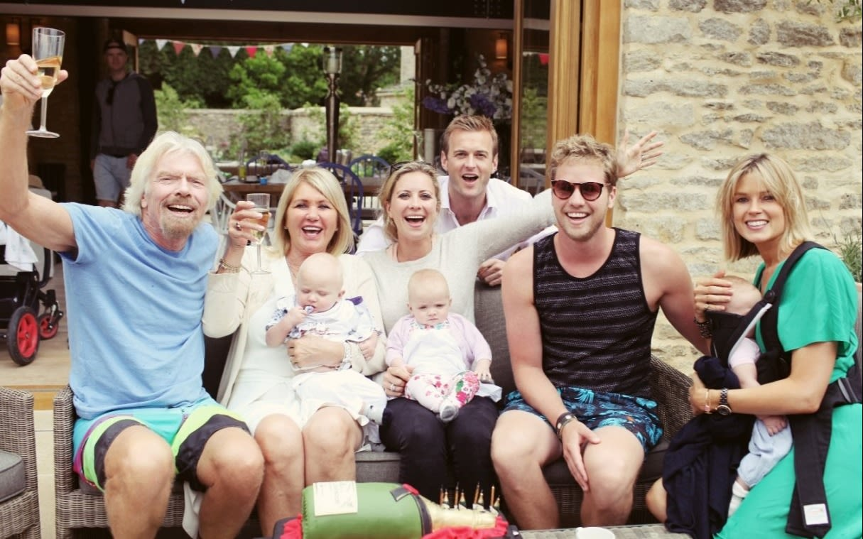 Richard Branson and his family pose for a family photo