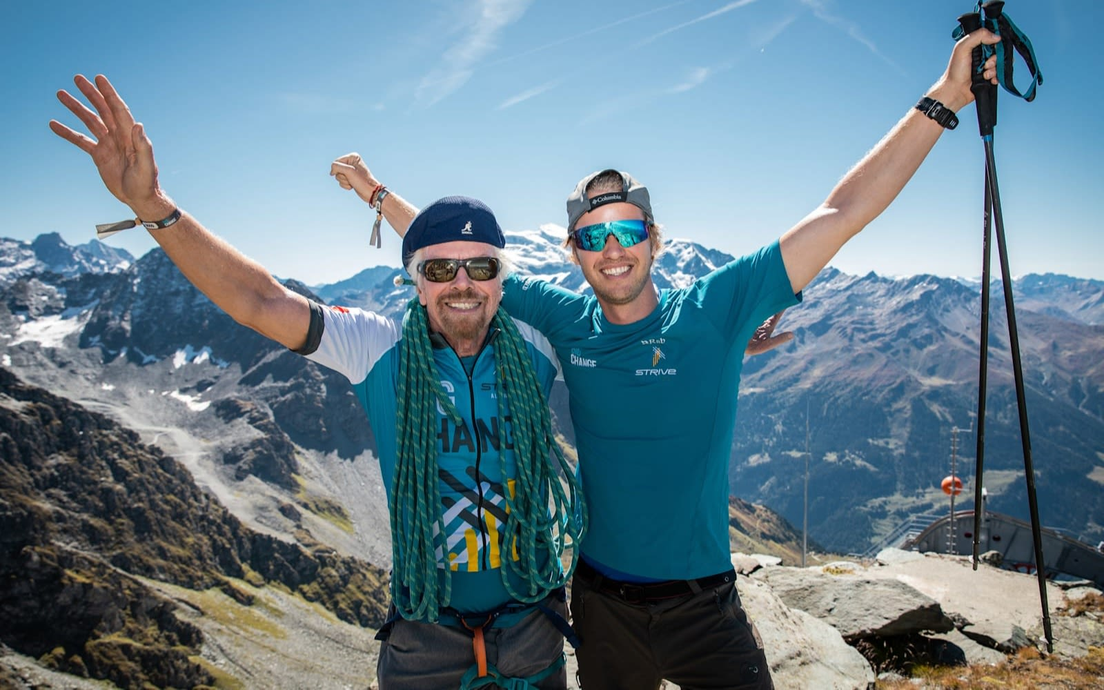 Richard Branson with Sam Branson on snowy mountain