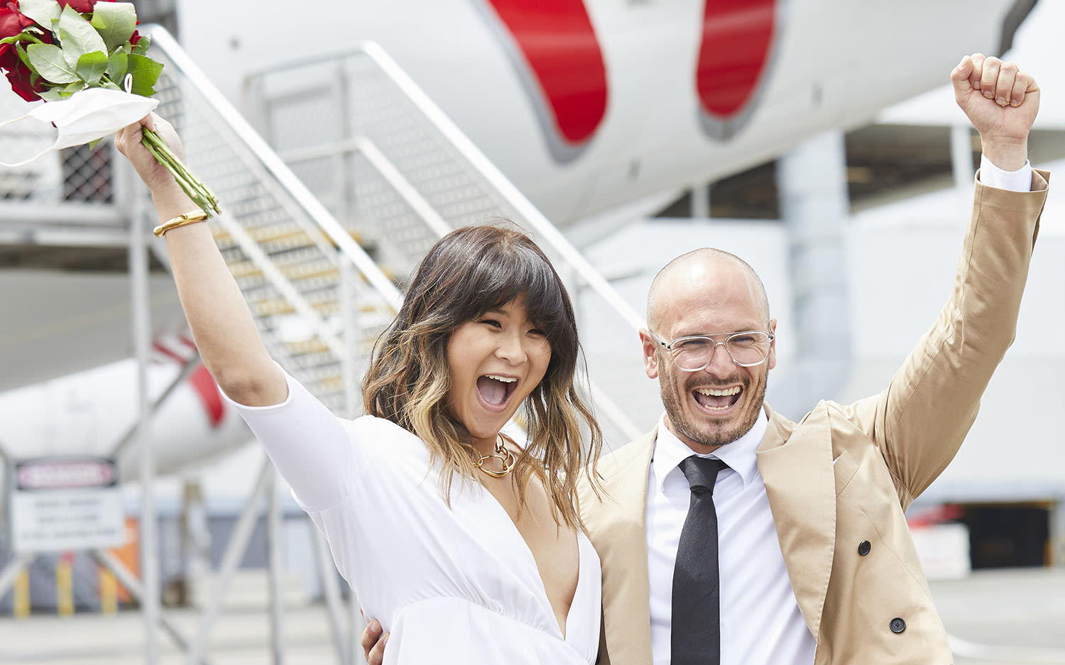 Elaine and Luke Serdar celebrate their onboard wedding