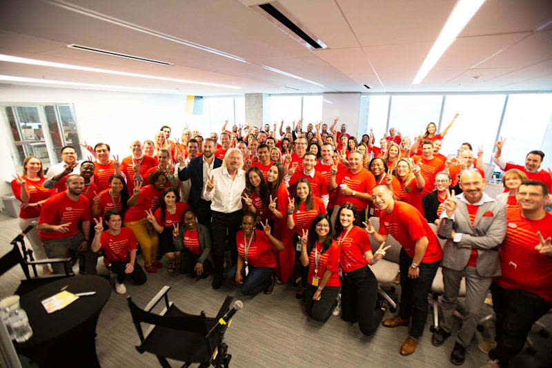 Richard Branson with Virgin Trains USA employees